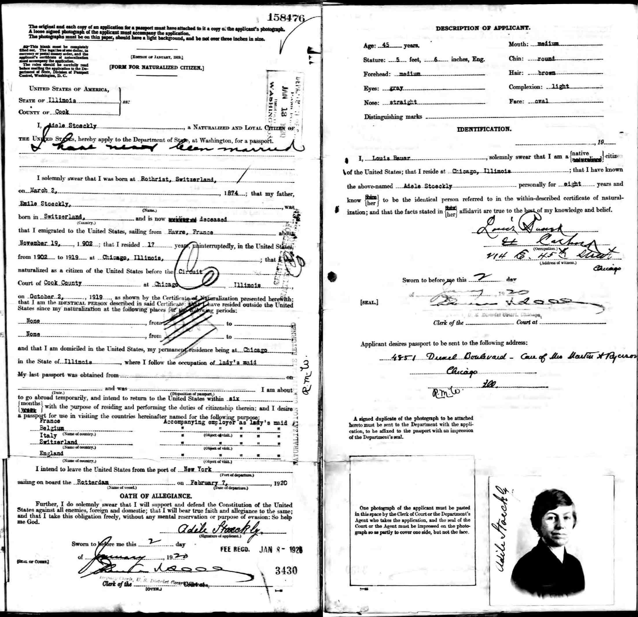 Adele stoeckly october 2 1919 certificate of naturalization back side october 2 1919 naturalization index card xflitez Gallery